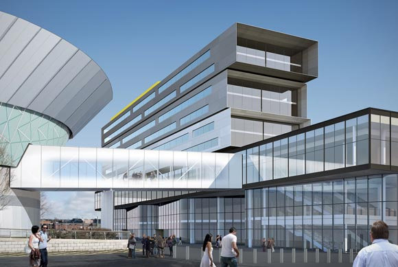 The footbridge will link the exhibition centre and its attached hotel with the existing arena