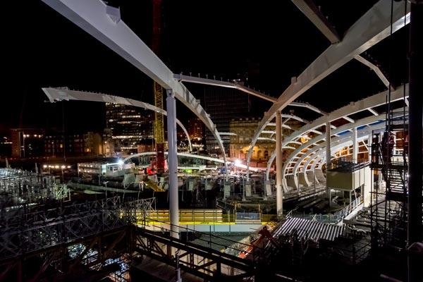 Steel ribs span station restoration