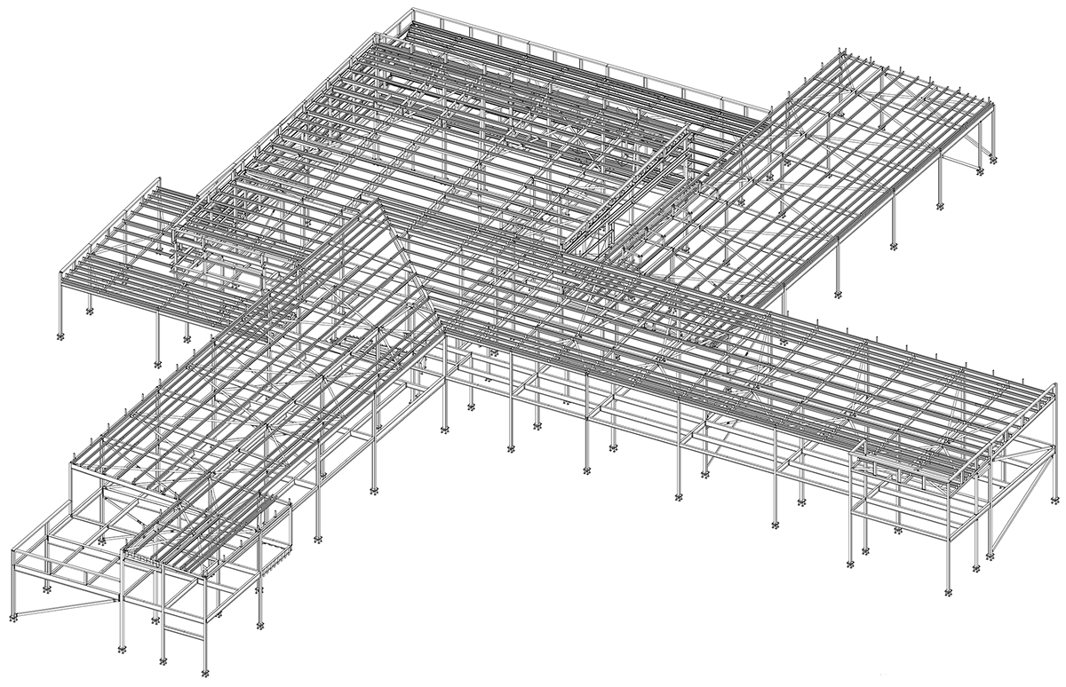 Below: Steel model of Oakbank School showing its configuration based around a central hub
