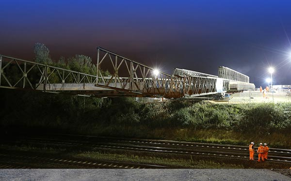 Temporary steel bridge launched for Crossrail