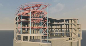 Model showing the intricate steelwork