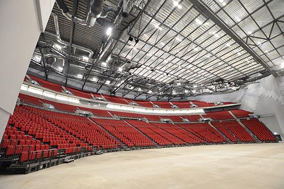 A fan-shaped seating arrangement optimises spectator's views © Ben Brown