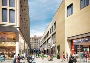 One and two-storey shops will line the malls