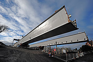 Two lines of girders for the south approach viaduct being readied for another launch