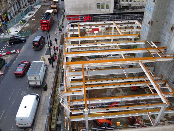 Steel erection began on the smaller Haymarket plot