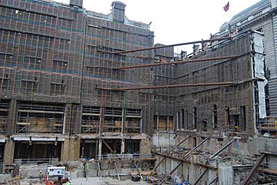 The retained façades of the Regent Street plot