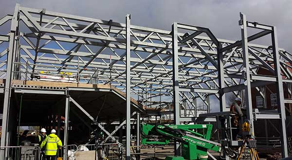 The steel frame takes shape