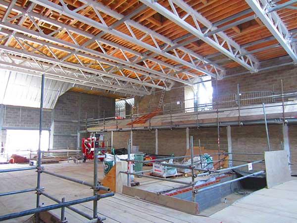 The 21m long trusses that form the auditorium