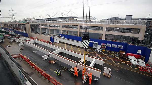 Steel bridge links Crossrail and ExCeL