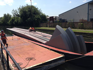 Steel was delivered to site by barge