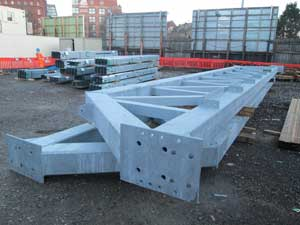 Steel waiting to be loaded onto barges at the Water Lane yard