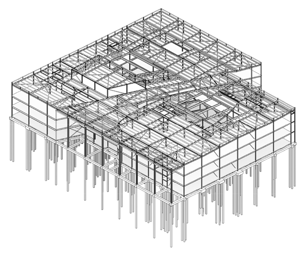 Steel model showing the school and its dividing street