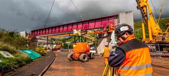 Wheatlands Road bridge in Galashiels is constructed