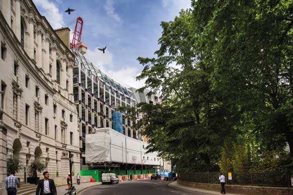 A modern structure has been seamlessly set into Finsbury Circus