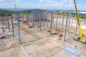 Coordination between steel deliveries and the erection has been key