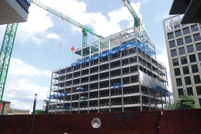 Next door to 3 Pancras Square, one more steel-framed structure has just begun construction