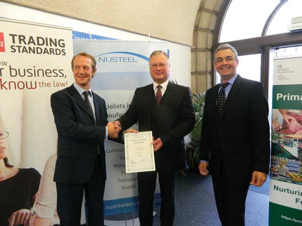 L-R Mike Overbeke, Head of Public Protection, Kent County Council; Ivor Roberts, Managing Director, Nusteel; Steve Rock, Head of Kent Trading Standards Service
