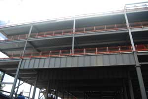 One of the 20m-long service yard girders