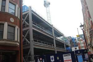 The steel frame along Breams Buildings takes shape