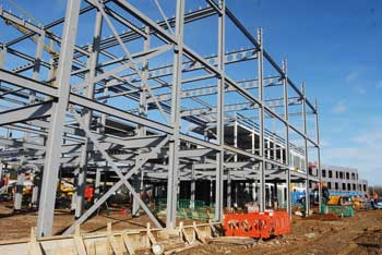 The braced frames are erected around a regular grid pattern