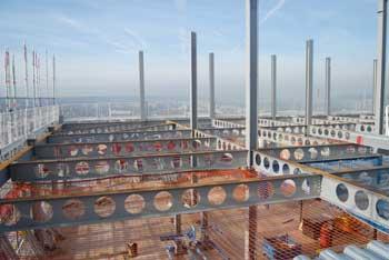 Cellular beam construction for the new upper floors