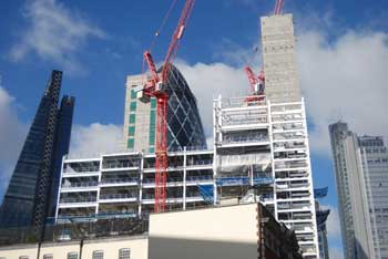 Creechurch Place rises up in front of three City landmarks