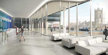The reception area of Building 101 features a large column-free space