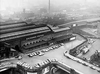 A 1960s view of Exchange Station showing the now demolished buildings and the retained façade