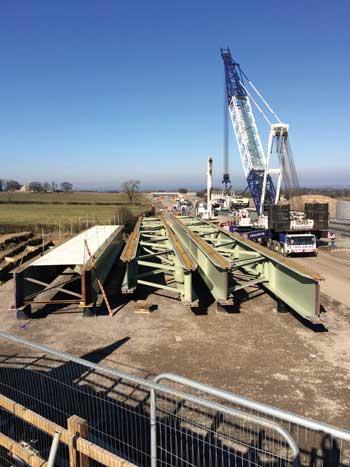 Kneeton Lane Overbridge being installed