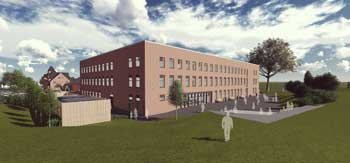 Exterior visualisation of the new school