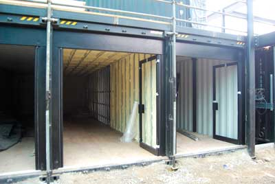 Shipping containers are used as eating and drinking outlets