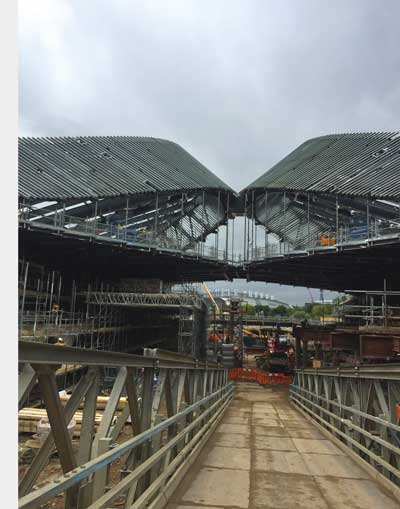 Roof up on Kings Cross Coal Drops retail destination