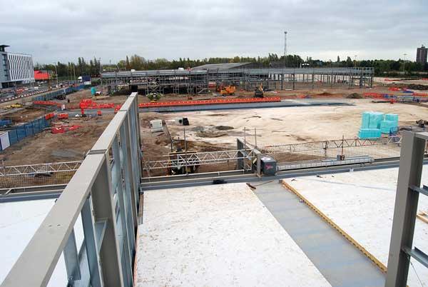 Steel frames complete at Trafford Park