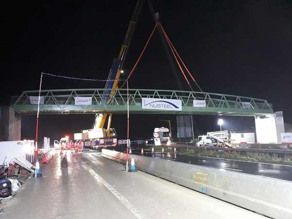 Footbridge installed over M20 motorway