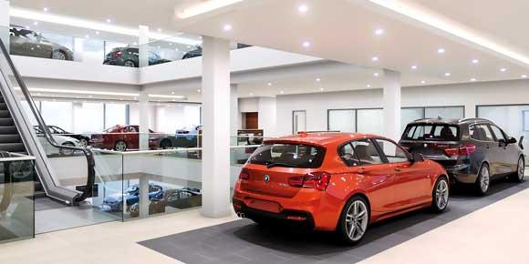 Steel drives car showroom design