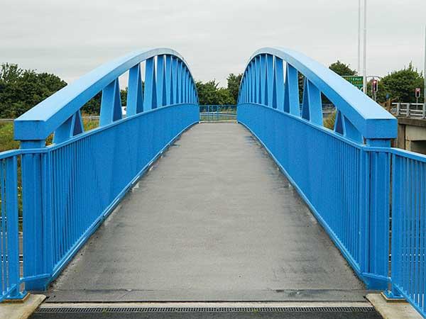 Footbridge installed over A55