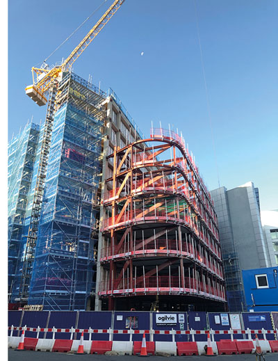 Cantilevering Edinburgh hotel takes shape