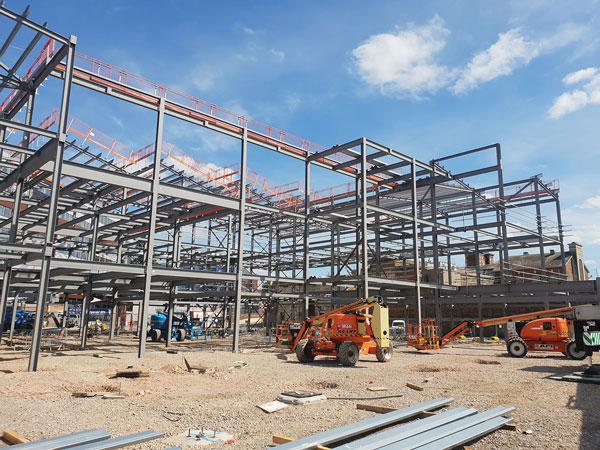 Steelwork rises for Gloucester redevelopment