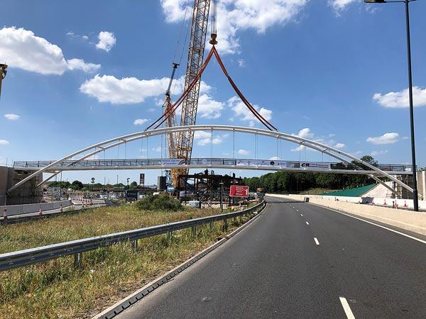Derby footbridge installed over A52