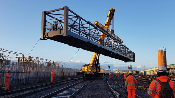 Steel signal gantry installed at Bristol