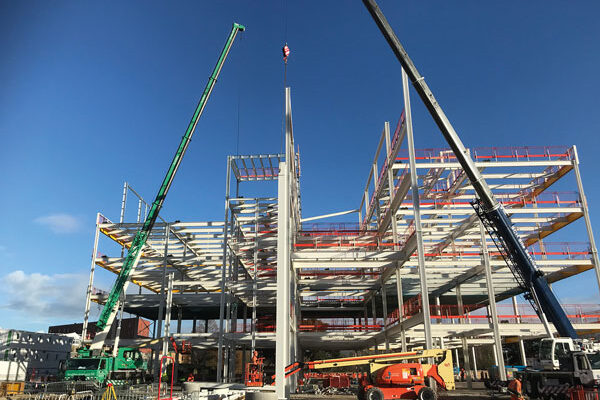 Science block rises with steel