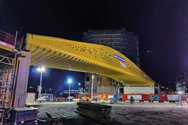 Landmark Swansea bridge lifted into position