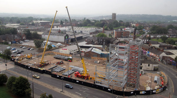 Key Stoke car park rising with steel